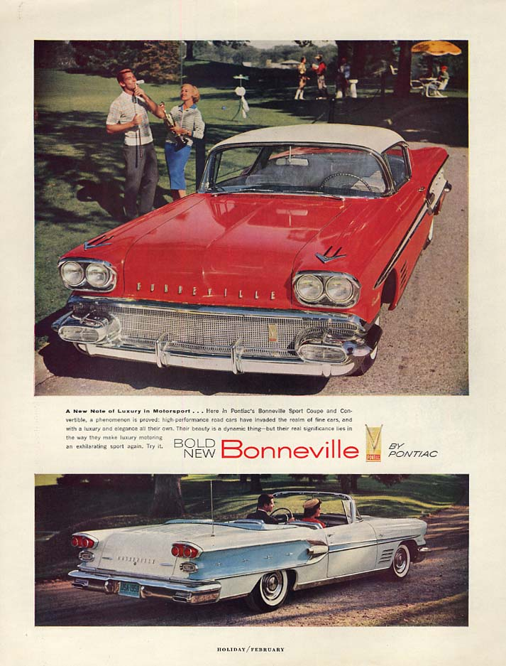 A New Note of Luxury in Motorsport - Pontiac Bonneville ad 1958 H