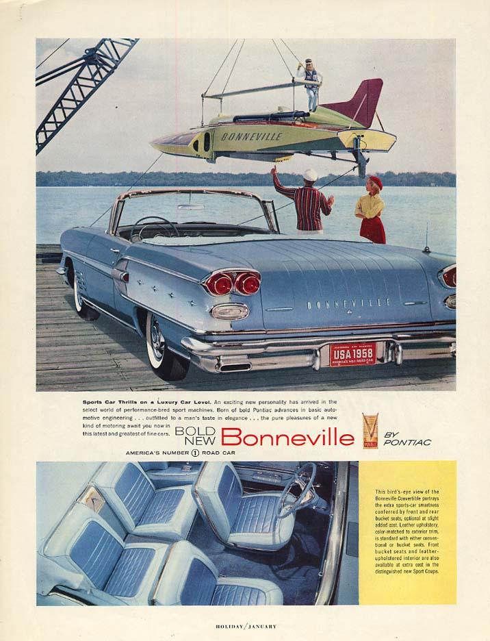 Sports Car Thrills on a Luxury Car Level - Pontiac Bonneville ad 1958 H