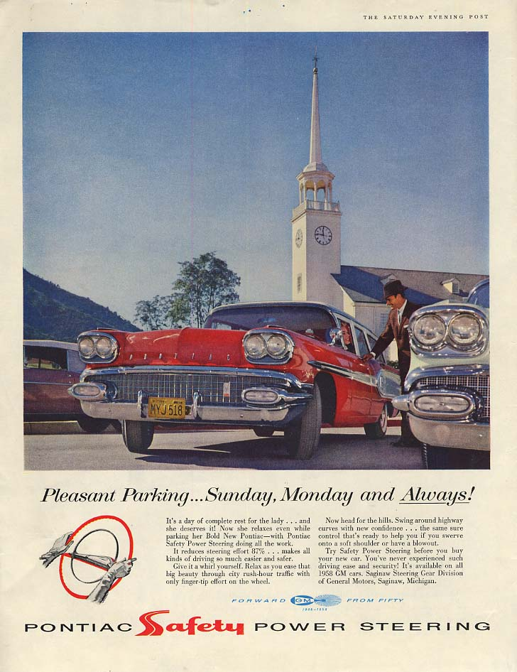 Pleasant Parking Sunday Monday & Always! Pontiac Station Wagon ad 1958 P