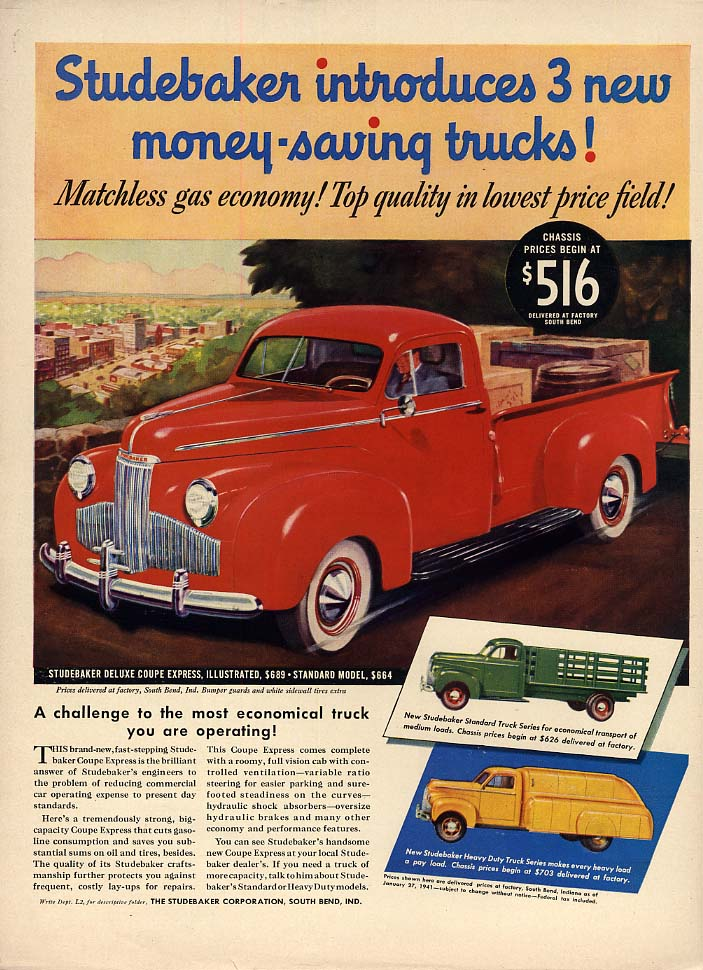 Studebaker introduces 3 new money-saving trucks- pickup ad 1941 L