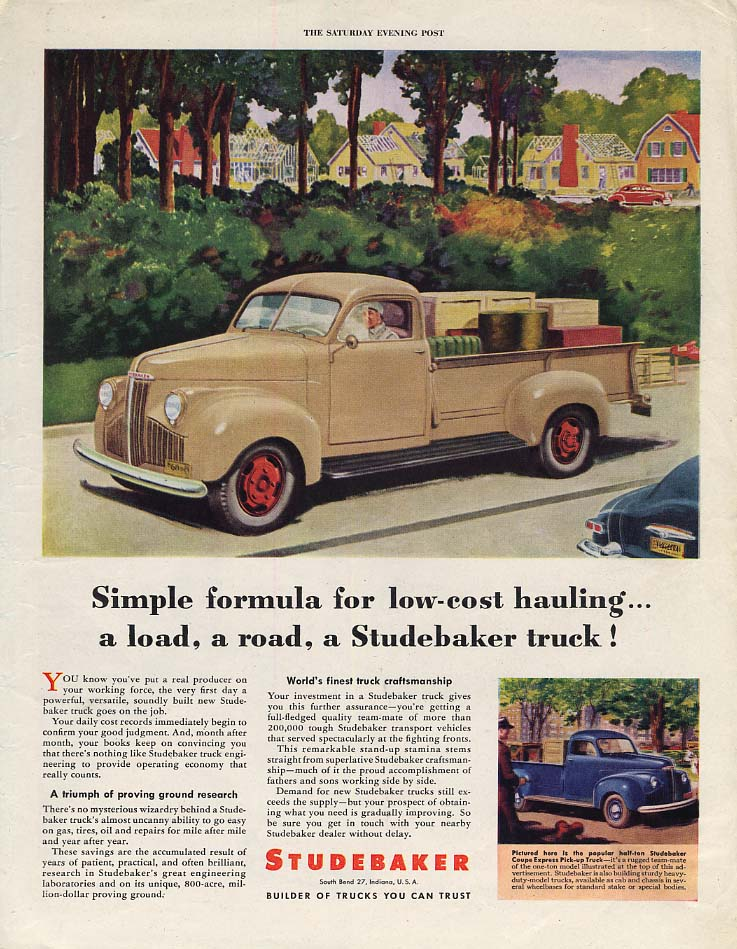 Simple formula for low-cost hauling Studebaker Pick-Up Truck ad 1946 P