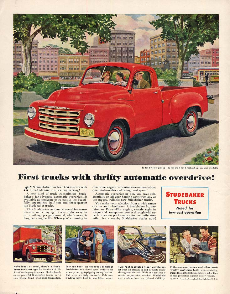 First trucks with thrifty automatic overdrive Studebaker Pickup Truck ad 1950 Cl