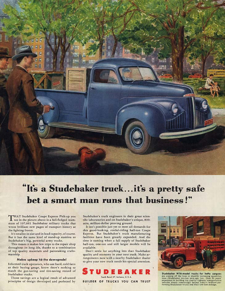 It's a pretty safe bet a smart man owns a Studbaker Pickup Truck ad 1946 Col