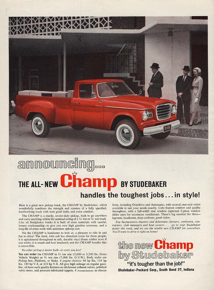 Announcing the all-New Studebaker Champ pickup truck ad 1960 L