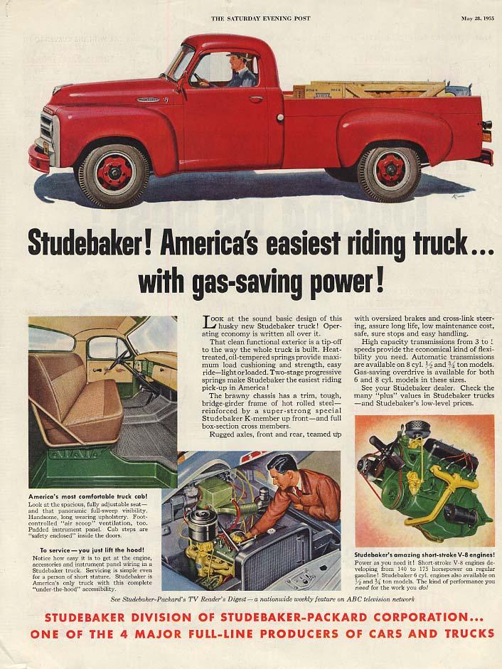 America's easiest riding pickup truck Studebaker ad 1955 SEP