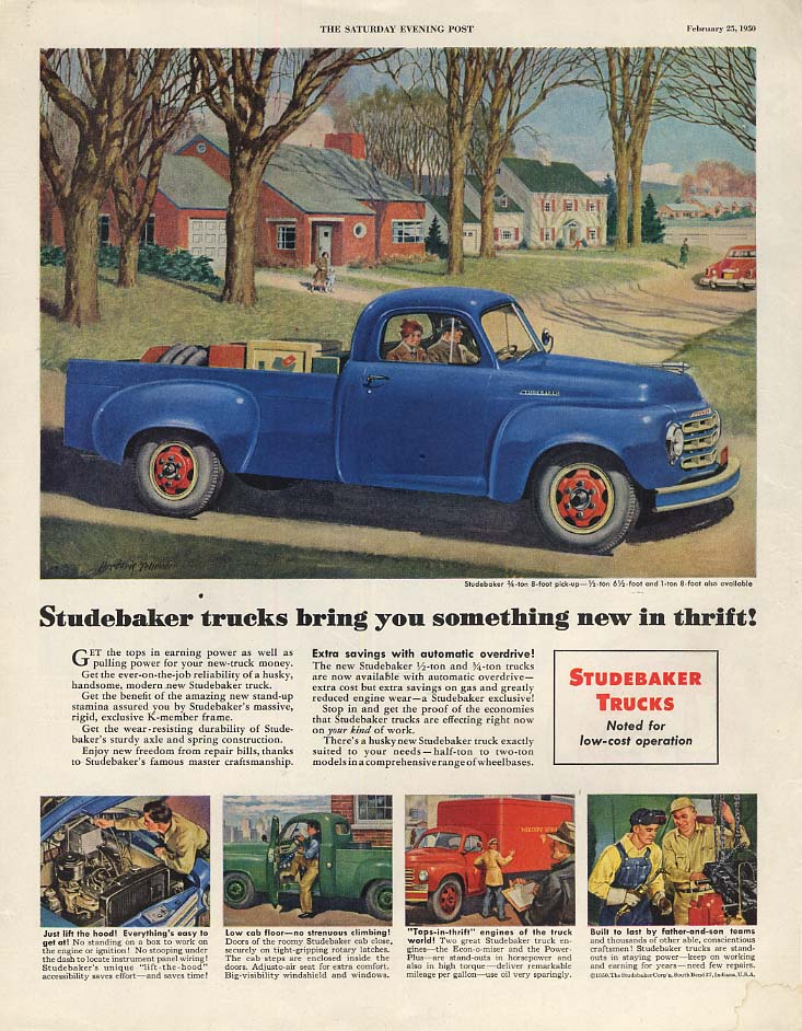 Something new in thrift - Studebaker Pickup Truck ad 1950 SEP