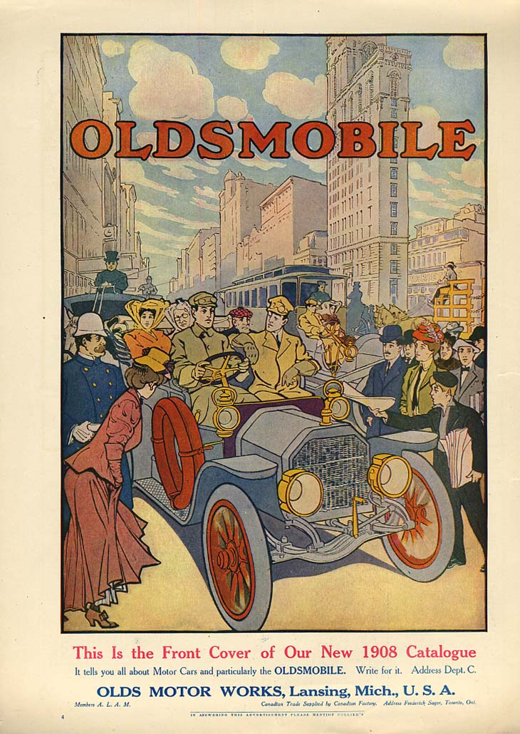 This is the Front Cover of our new Oldsmobile Catalogue ad 1908 Col