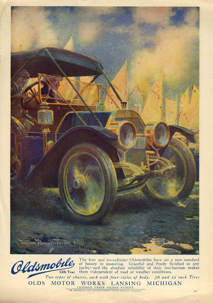A new standard of luxury in motoring Oldsmobile Tourng Car ad 1910 Col