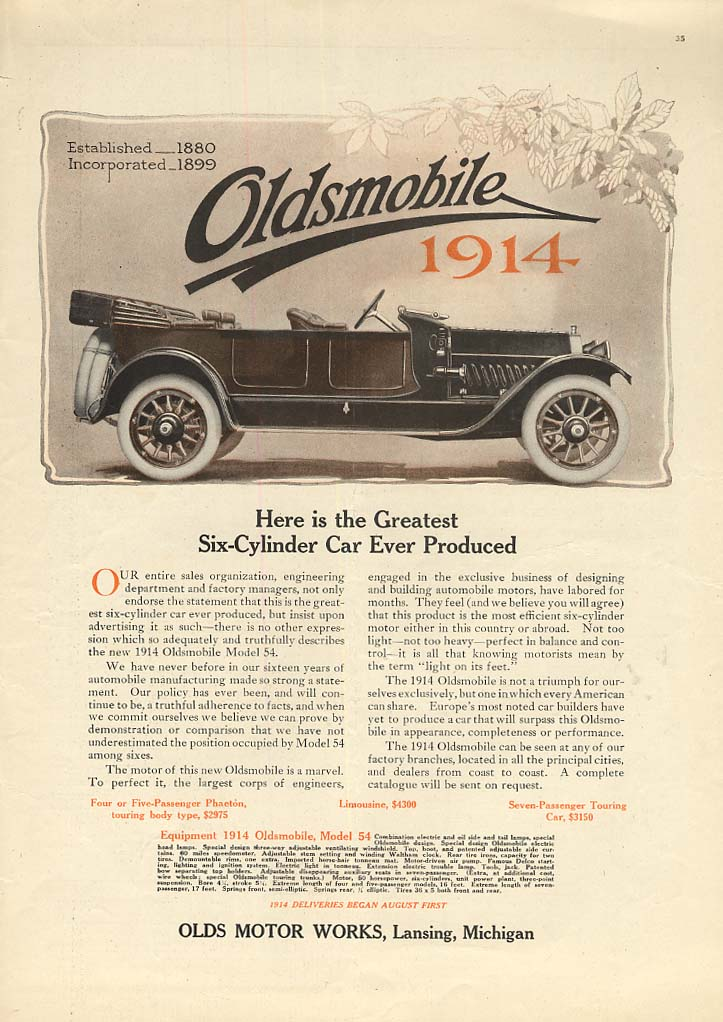 Here is the greatest Six-Cylinder Ever Produced Oldsmobile Touring ad 1914