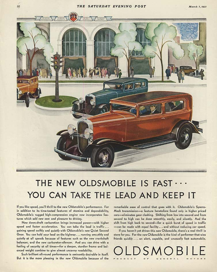 You can take the lead and keep it Oldsmobile ad 1931 P