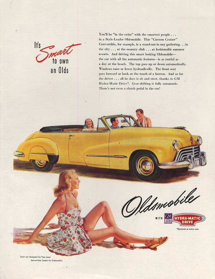 You'll be in the swim with the new Oldsmobile Convertible ad 1947 SEP