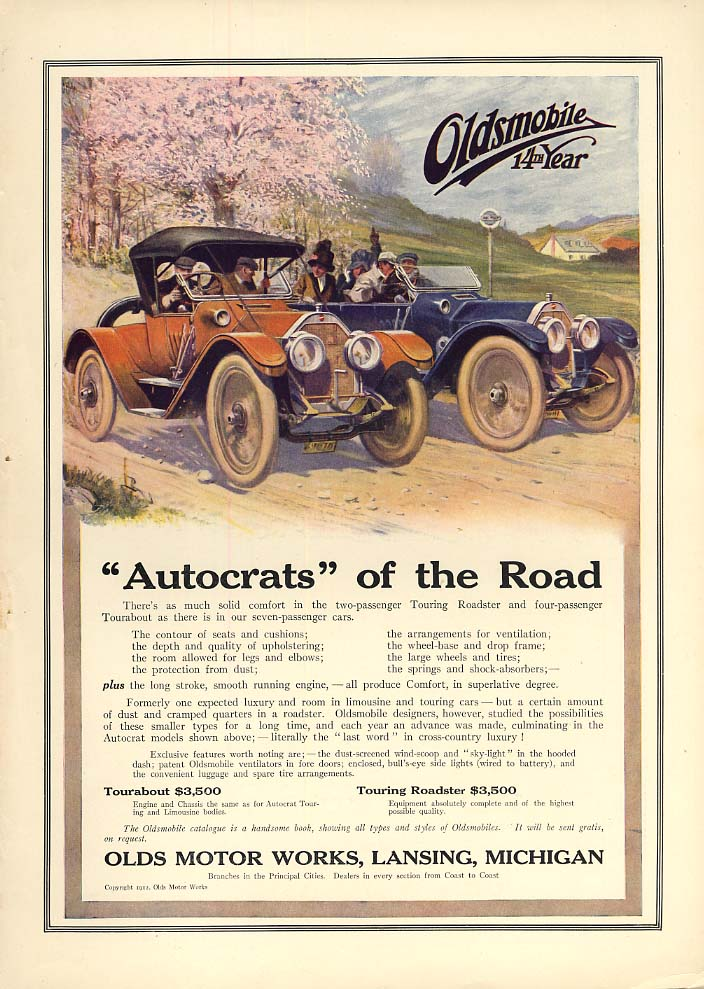 Autocrats of the Road - Olsmobile Tourabout & Roadster ad 1912