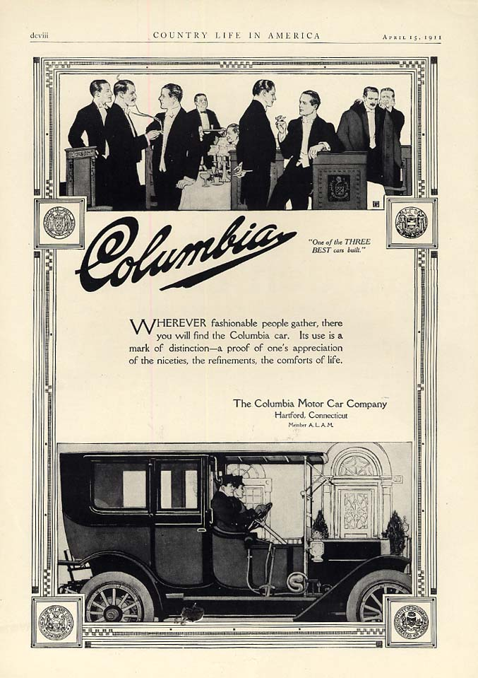 Wherever fashionable people gather Columbia Limousine Hartford CT ad 1911