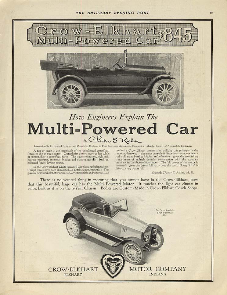 How engineers explain the Crow-Elkhart Multi-Powered Car ad 1917 SEP