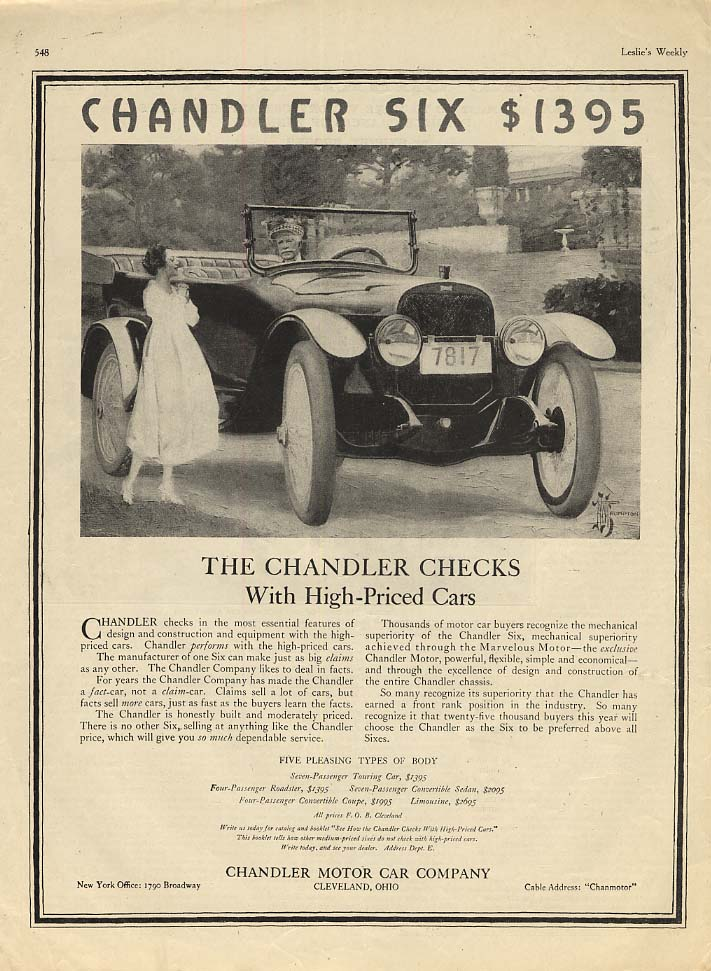 Checks With High-Priced Cars: Chandler Six Touring Car ad 1917