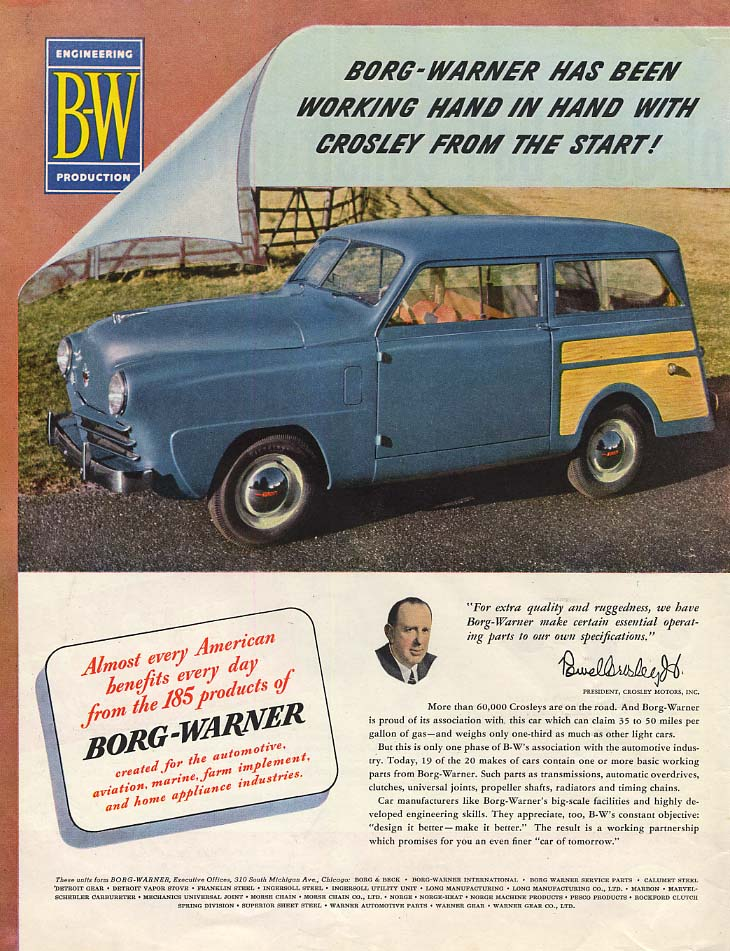 Borg-Warner has been working with Crosley from the Start ad 1949 Station Wagon