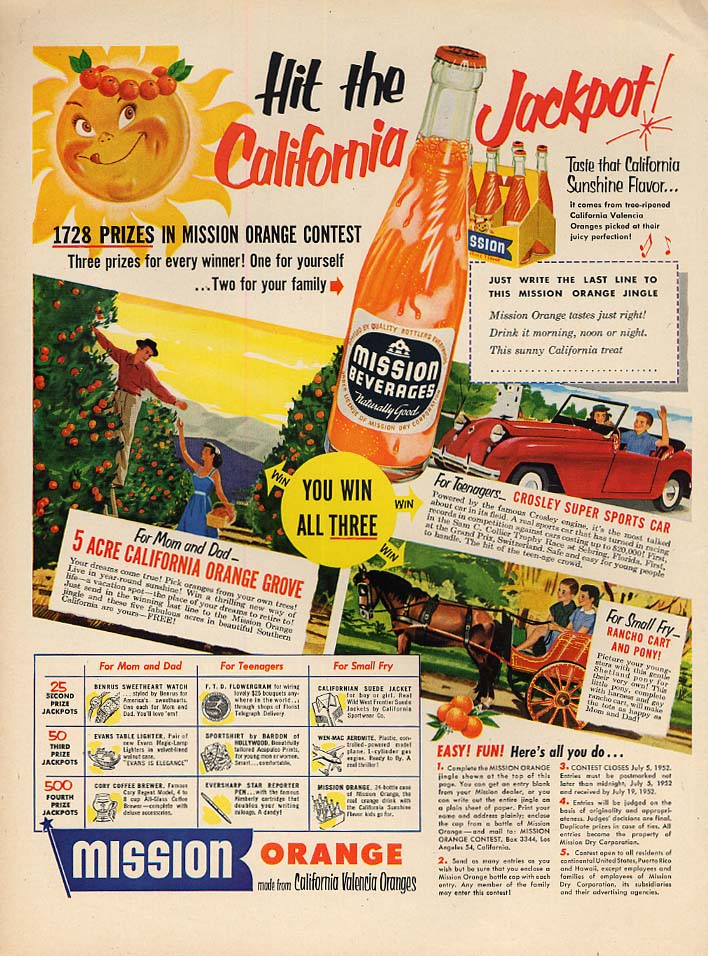 Croslet Super Sports Car contest prize Mission Beverages ad 1952
