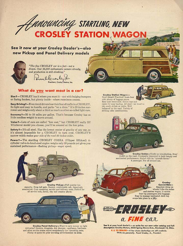 Announcing startling new Crosley Station Wagon ad 1948 L