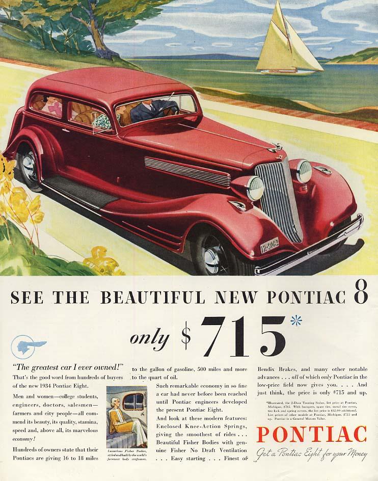 See the Beautiful New Pontiac 8 2-door Sedan ad 1934 SEP