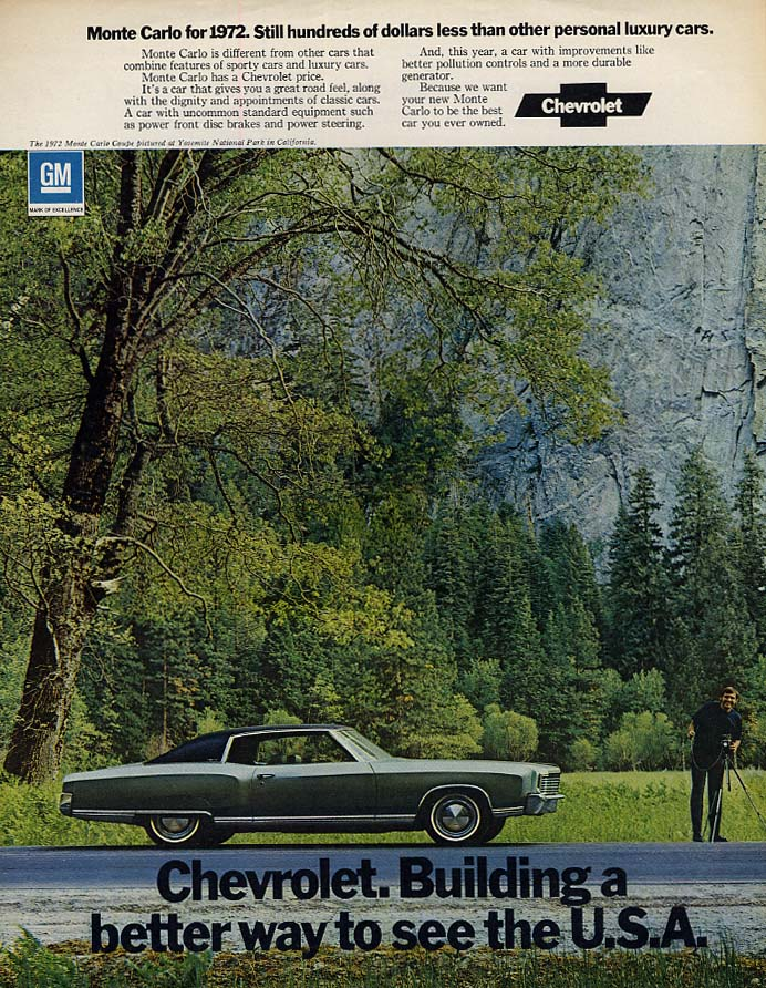 Still hundreds less that other personal luxury cars Monte Carlo ad 1972 F