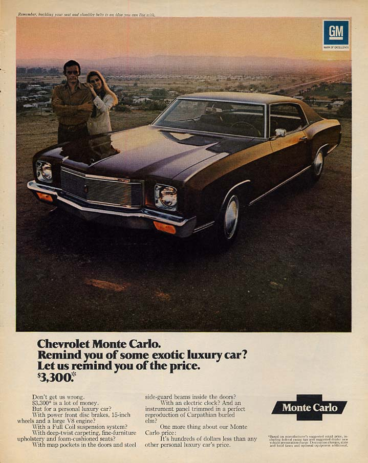 Remind you of some exotic luxury car? Chevrolet Monte Carlo ad 1971 L