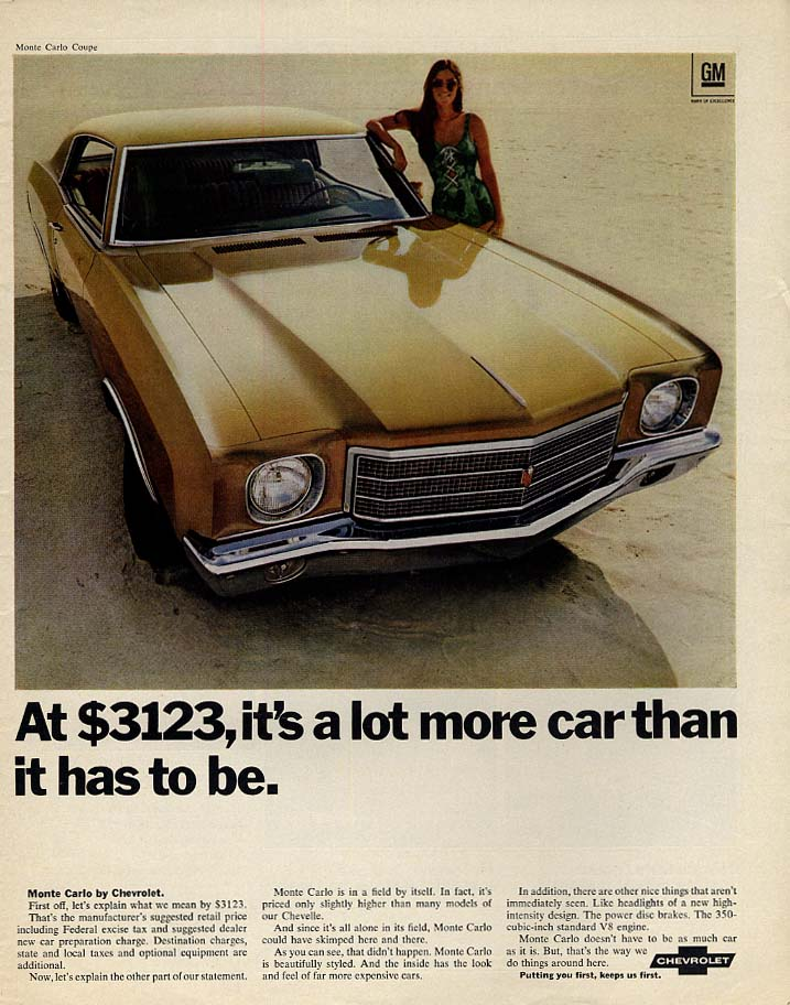 At $3123 it's a lot more car than it has to be Chevrolet Monte Carlo ad 1970 Lk