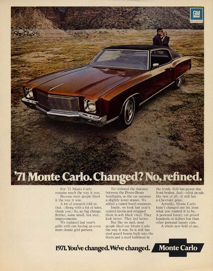 Changed? No, refined - Chevrolet Monte Carlo ad 1971 var