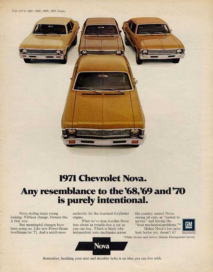 Any resemblance to '68 '69 & '70 is purely intentional Chevrolet Nova ad 1971 Lk