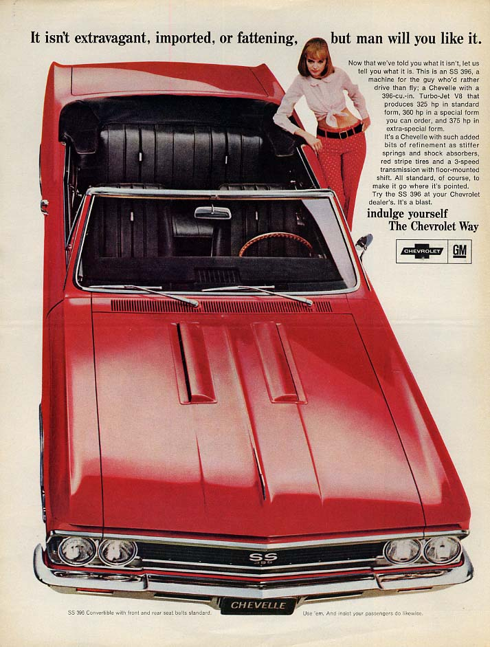 It isn't extragavant imported or fattening Chevrolet Chevelle SS 396 ad 1966 L