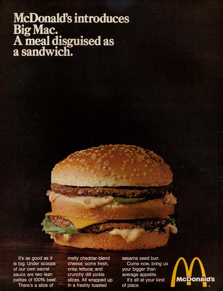 Image for McDonald's introduces Big Mac - A meal disguised as a sandwich ad 1969 var