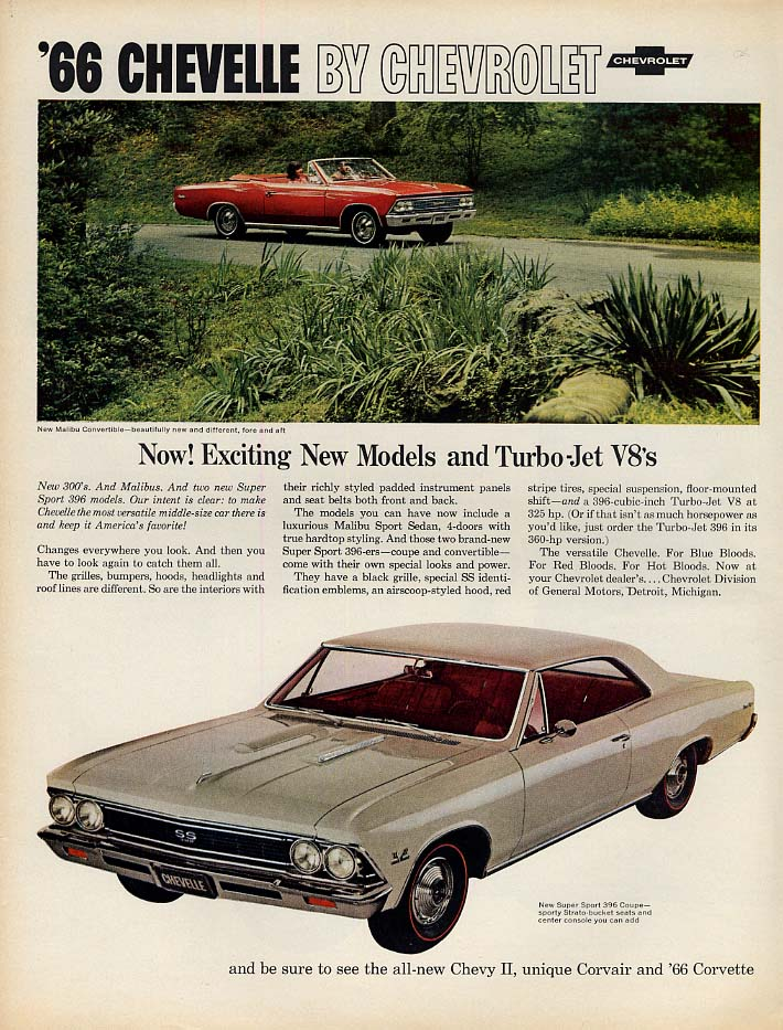 Now! Exciting New Models Chevrolet Chevelle SS 396 & Malibu ad 1966 L
