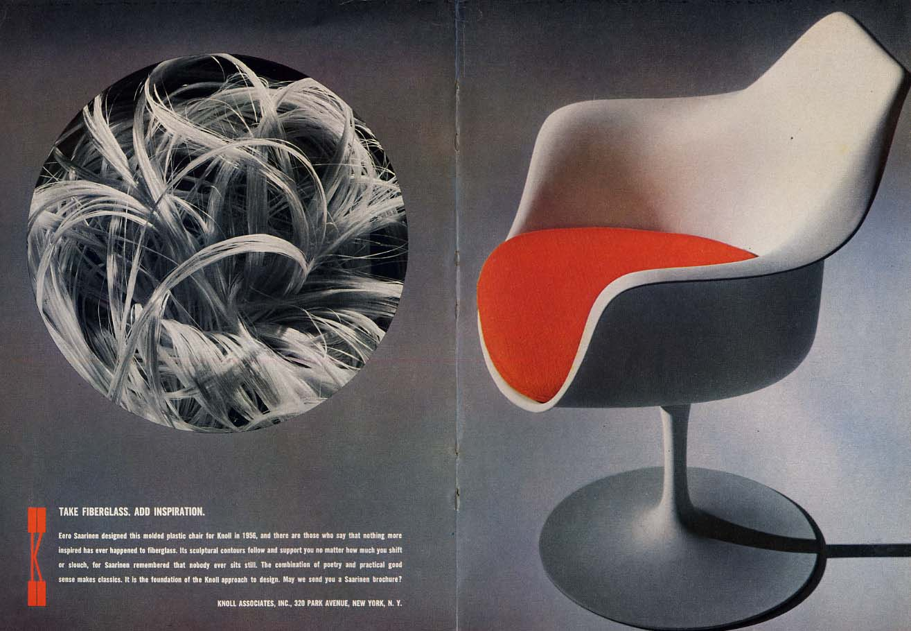 Image for Take fiberglass Add inspiration Eero Saarinen chair by Knoll ad 1964 NY