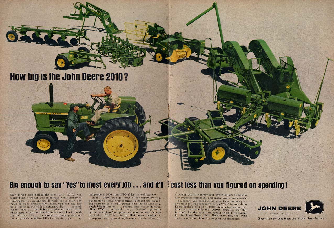 Big enough to say yes to most every job John Deere 2010 Tractor ad 1963
