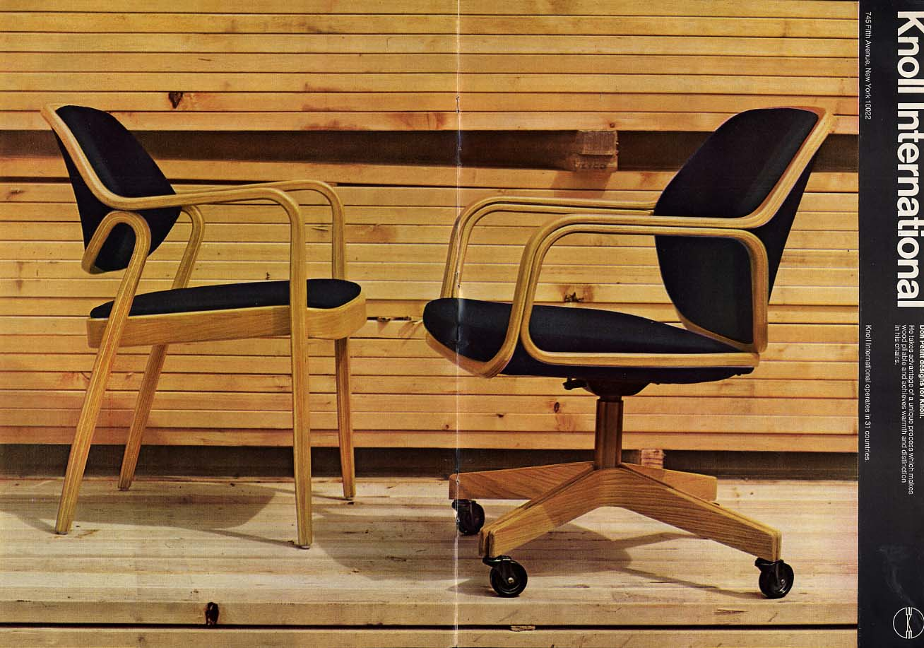 Image for Don Petit designs office chairs for Knoll International ad 1971