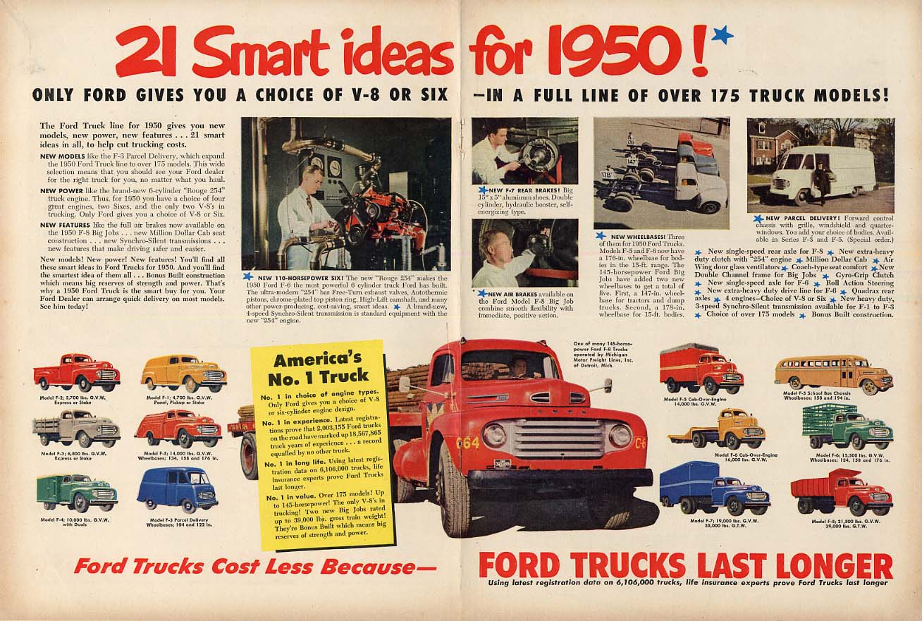 A choice of V-8 or Six in 175 models Ford Truck ad 1950 NW