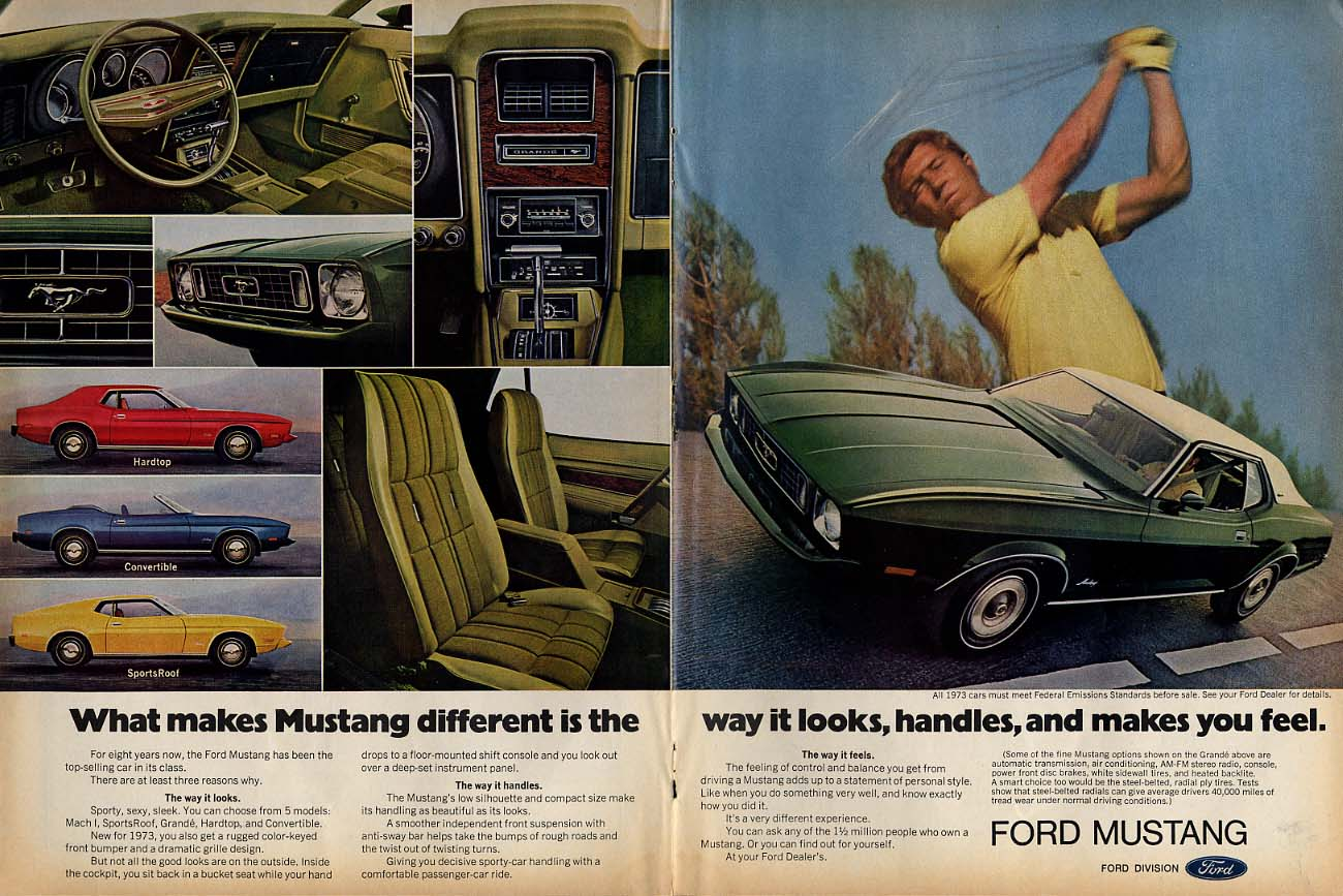 Image for What makes Mustang different is the way it looks & handles ad 1973 T