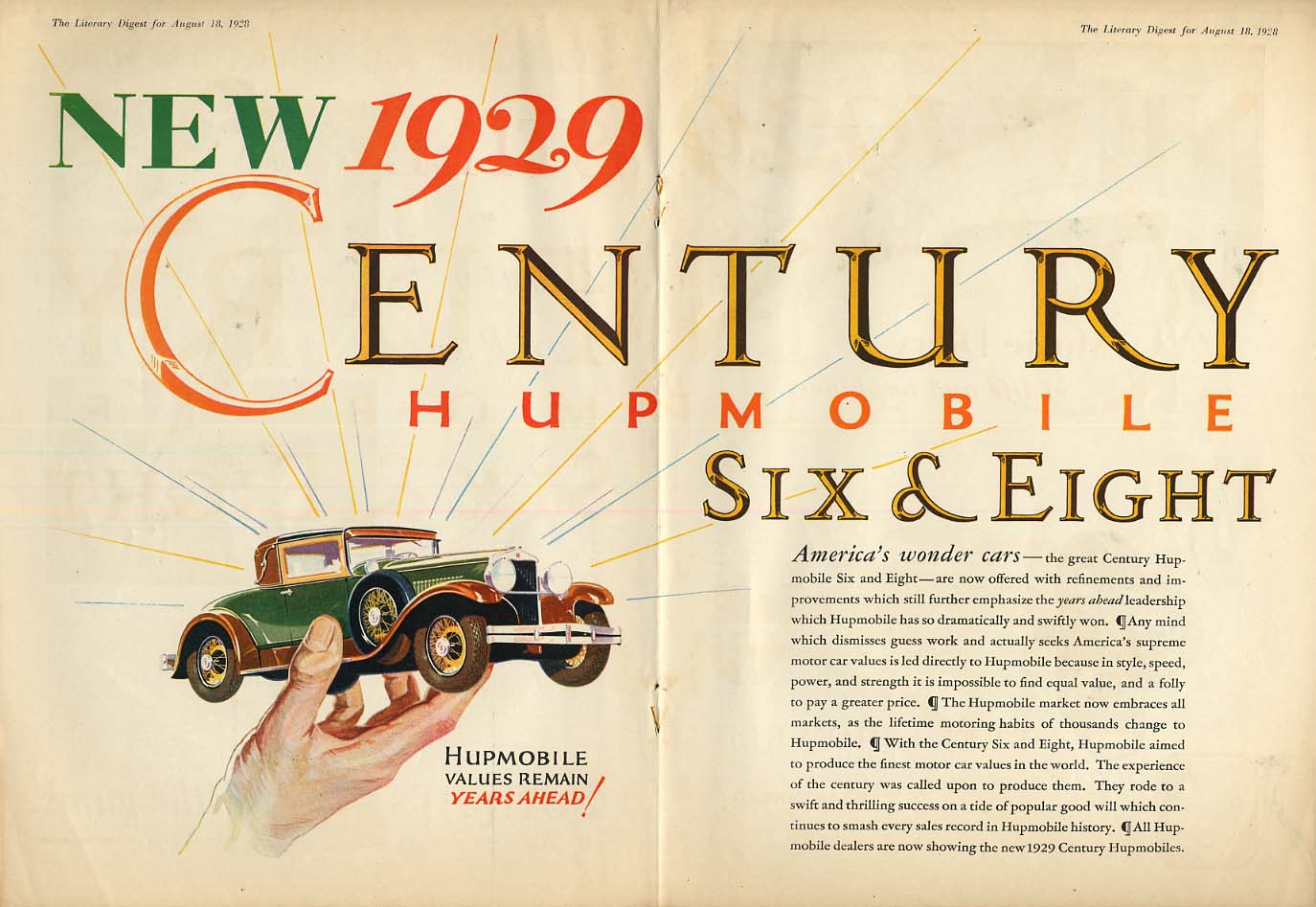 America's Wonder Cars - Hupmobile Century Six & Eight ad 1929 LD