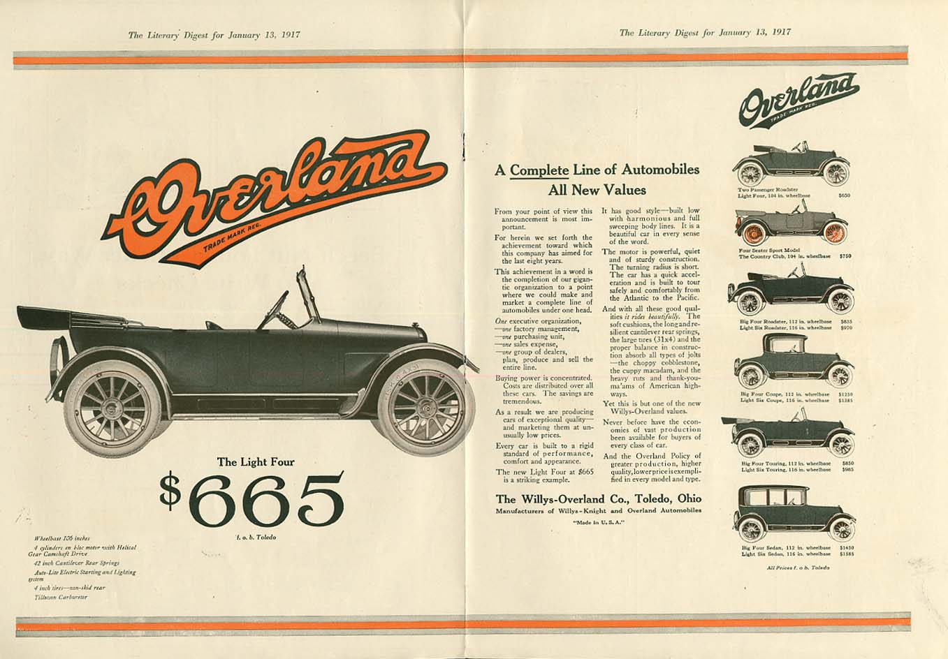 Image for A Complete Line of Automobiles All new Values Willys Overland ad 1017 LD
