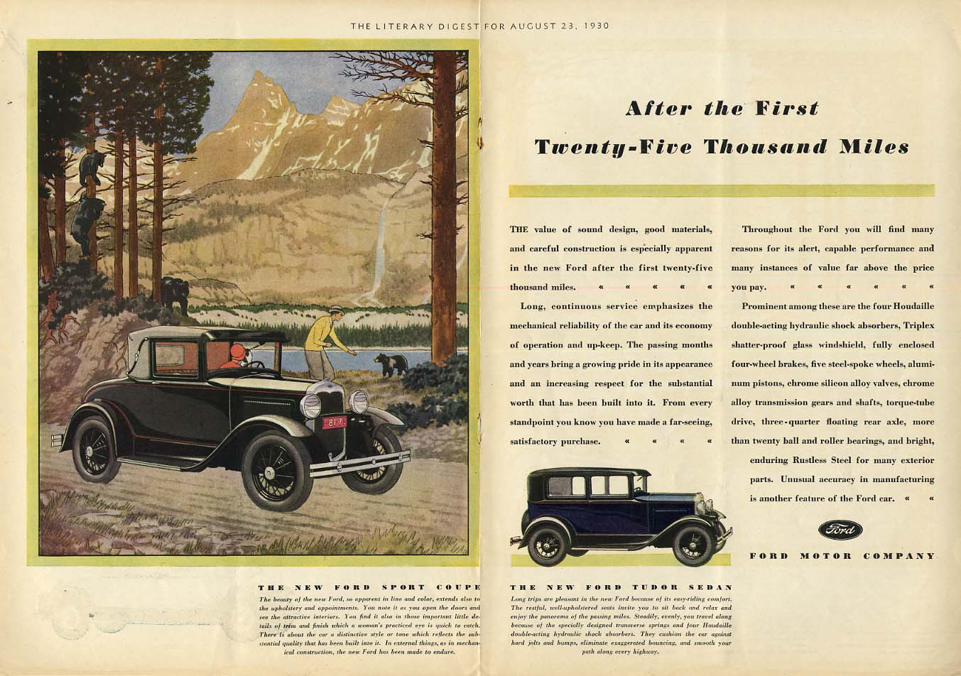 After the First Twenty-Five Thousand Miles Ford Model A Sport Coupe ad 1930 LD