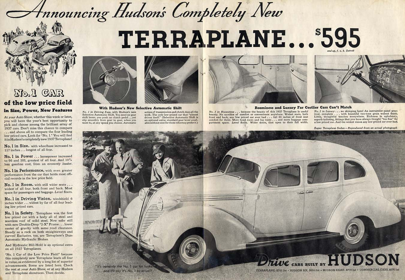 Announcing Hudson's Completely New Terraplane $595 ad 1937 LD