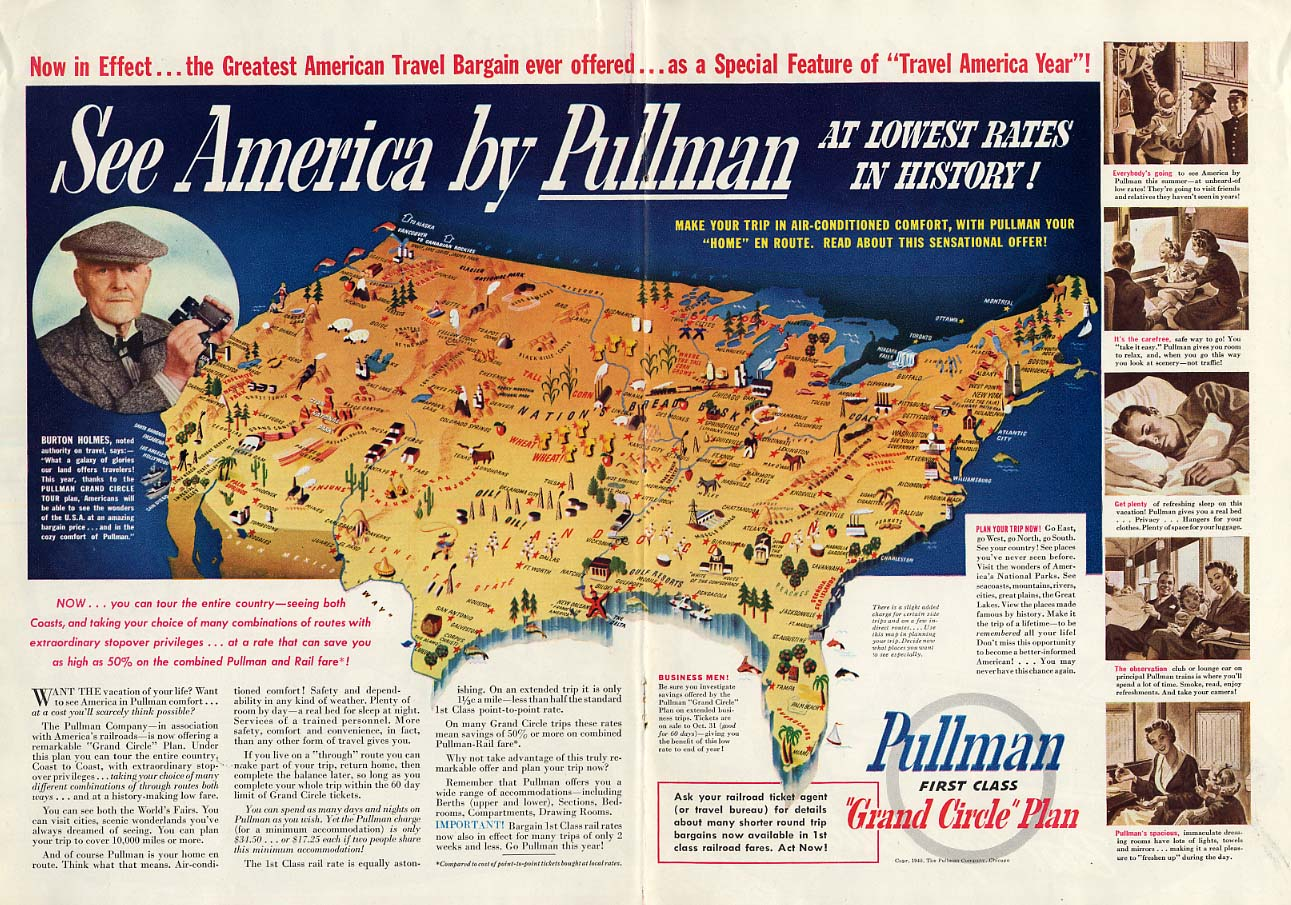 Burton Holmes says See America by Pullman on the railroad ad 1940 T