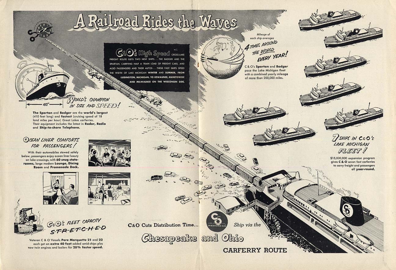 A Railroad Rides the Waves Chesapeake & Ohio Carferry Route ad 1953