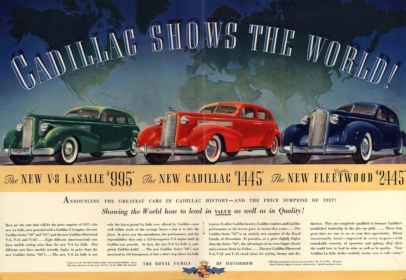 Cadillac Shows the World ad 1937 La Salle Fleetwood NY