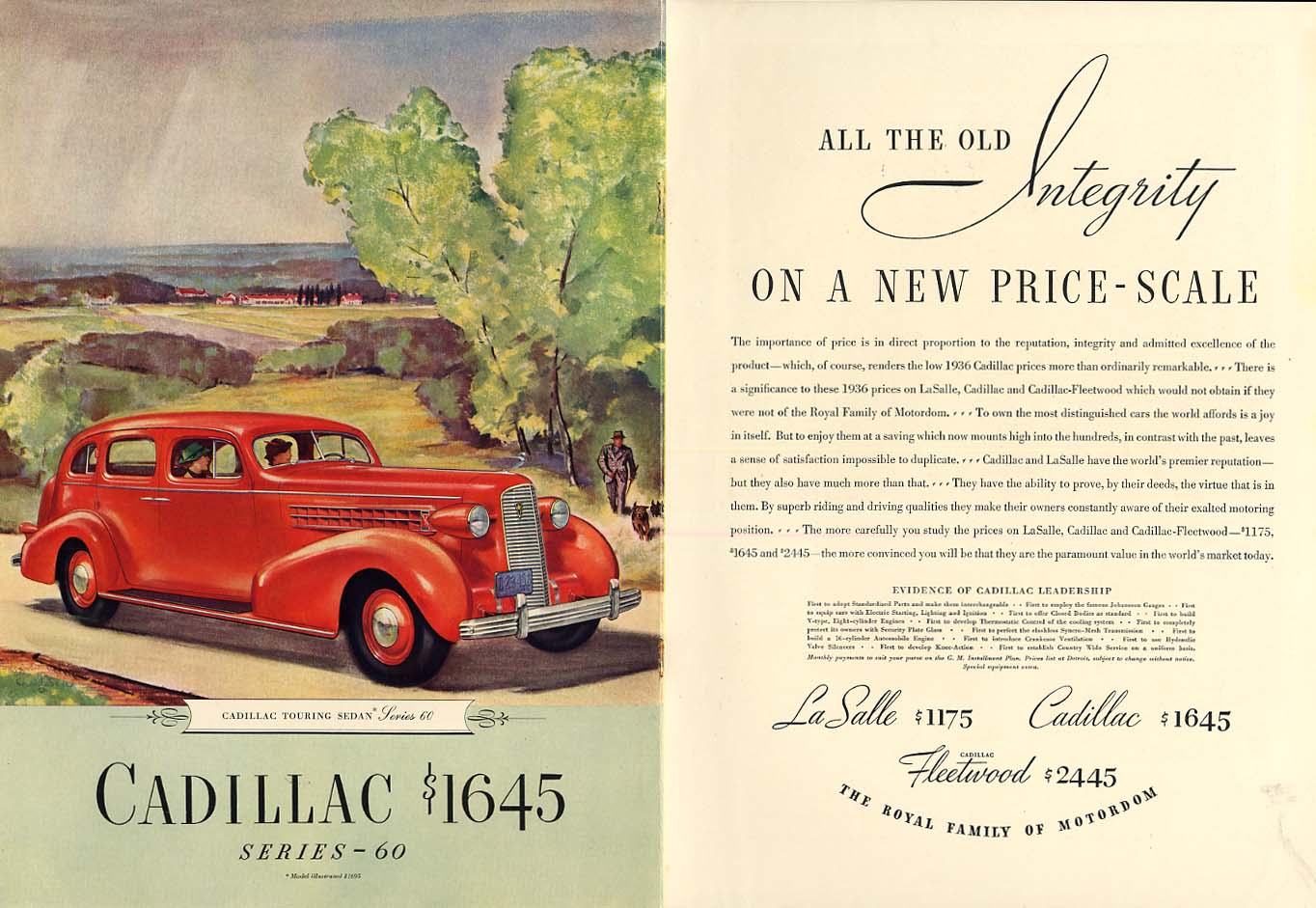 All the old integrity on a new price-scale Cadillac Series 60 ad 1936 NY