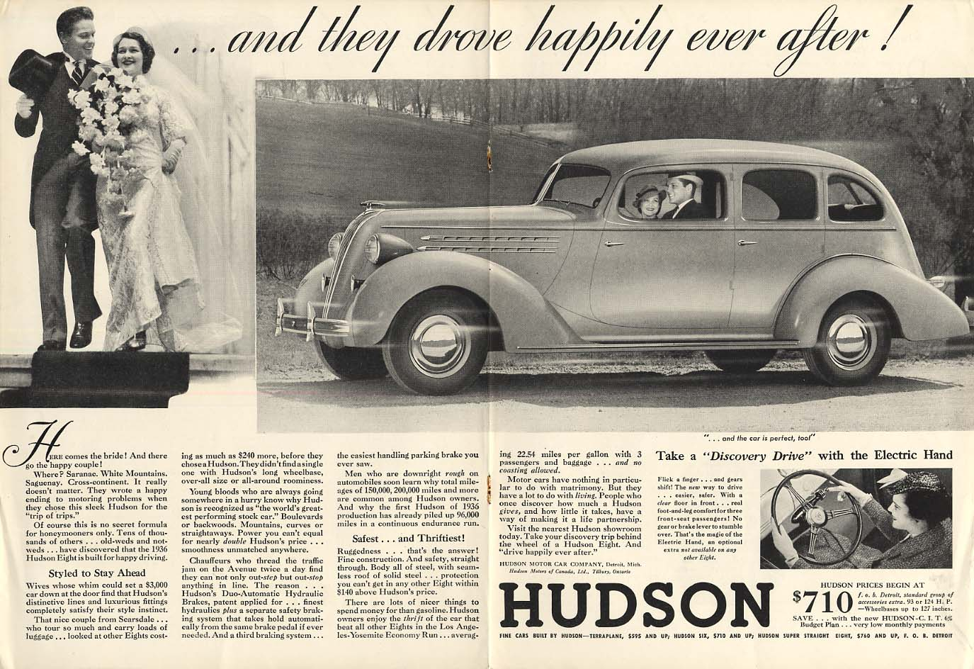 And they drove happily ever after! Hudson 4-door sedan ad 1936 NY