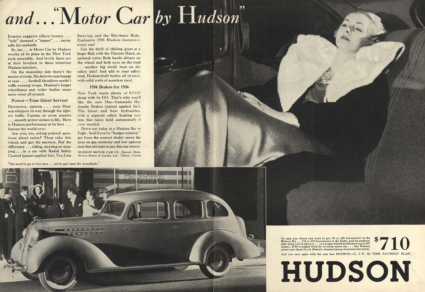 and Motor Car by Hudson - Ermine suggests silken luxury ad 1936 NY