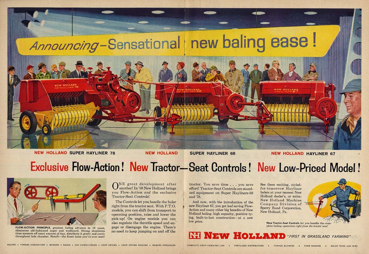 Announcing Sensational new Bailing Ease - New Holland Farm Equipment ad 1959