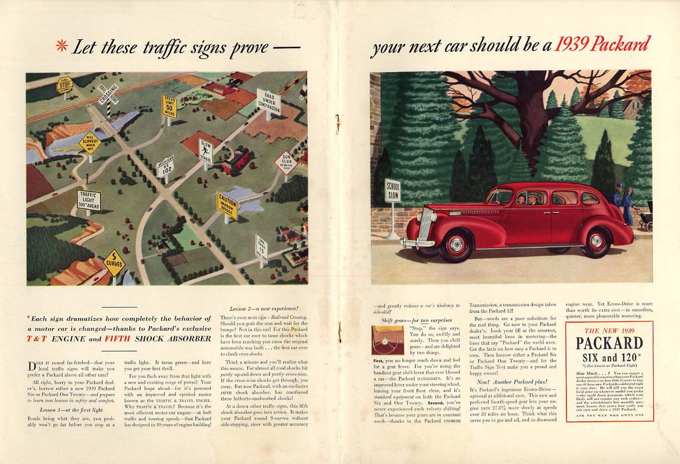 Let these traffic signs prove you next car should be a Packard ad 1939 NY