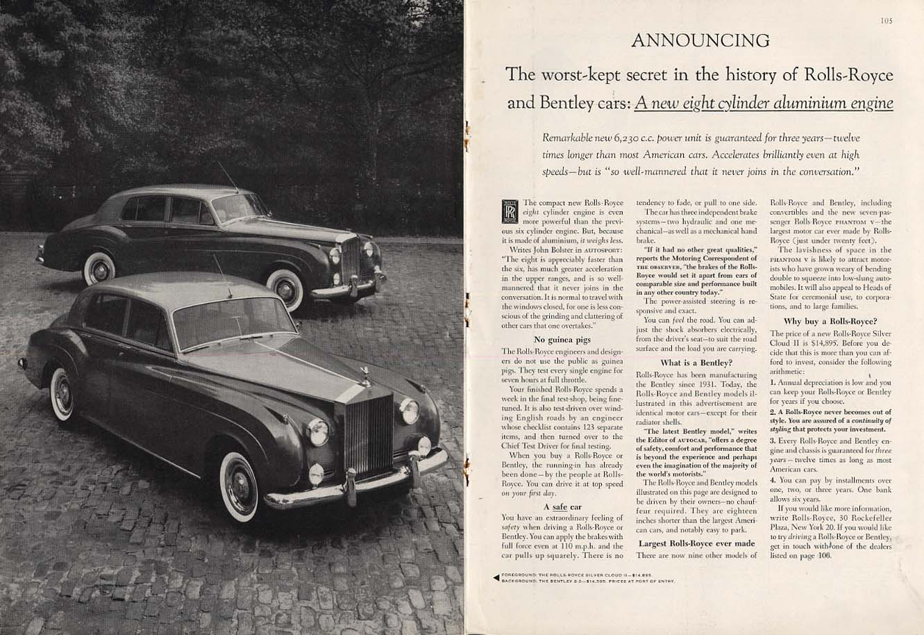 Image for Worst-kept secret in Rolls-Royce history: a new eight cylinder engine ad 1960 NY