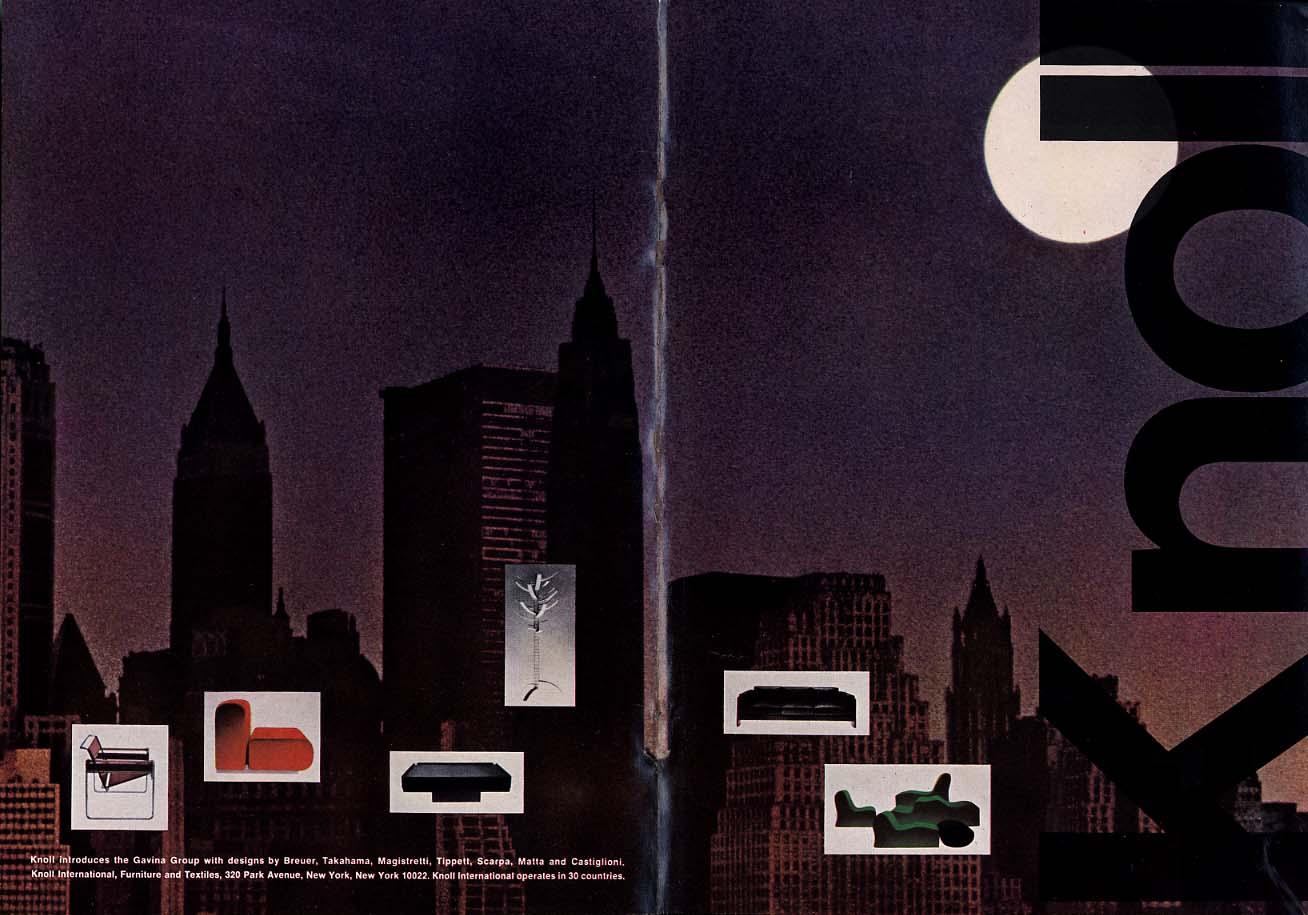 Knoll introduces the Gavina Group by Breuer Takahama Matta ++ ad 1967 NY